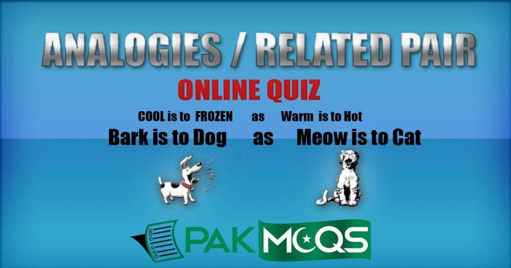 Related Pair of Words Quiz/ Verbal Analogies Quiz